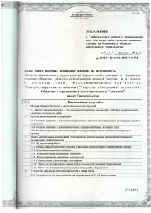 Свидетельство СРО ТОС НОВЕЙШЕЕ Приложение 1 август 2012